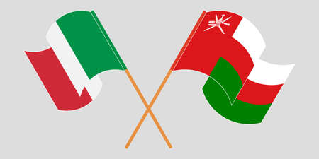 Crossed flags of Oman and Italy