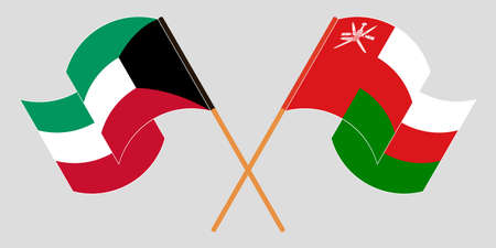 Crossed flags of Oman and Kuwait