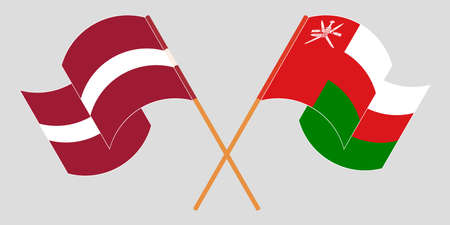 Crossed and waving flags of Oman and Latvia 矢量图像