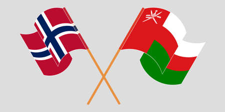 Crossed and waving flags of Oman and Norway