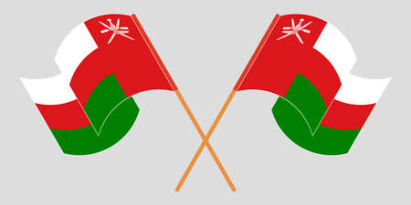 Crossed and waving flags of Oman