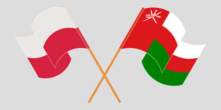 Crossed flags of Oman and Poland 矢量图像
