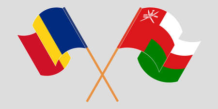 Crossed and waving flags of Oman and Romania 矢量图像