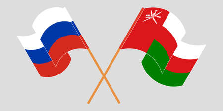 Crossed flags of Oman and Russia