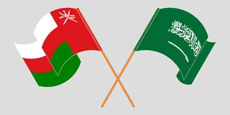 Crossed and waving flags of Oman and the Kingdom of Saudi Arabia 矢量图像