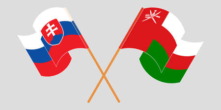 Crossed and waving flags of Oman and Slovakia 矢量图像