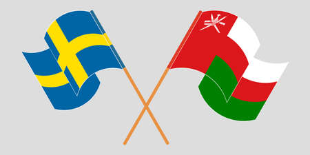 Crossed flags of Oman and Sweden