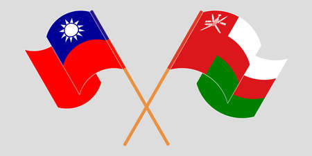 Crossed and waving flags of Oman and Taiwan