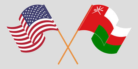 Crossed flags of Oman and the USA