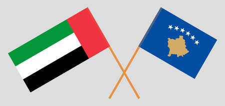 Crossed flags of Kosovo and the United Arab Emirates