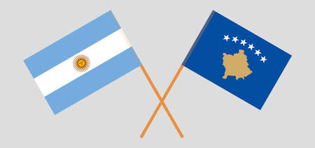 Crossed flags of Kosovo and Argentina