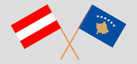 Crossed flags of Kosovo and Austria 矢量图像