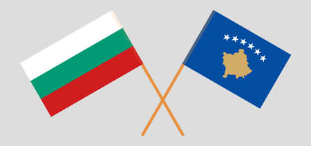 Crossed flags of Kosovo and Bulgaria