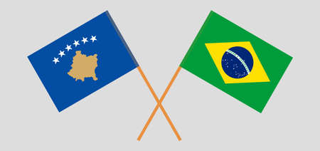 Crossed flags of Kosovo and Brazil 矢量图像