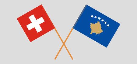 Crossed flags of Kosovo and Switzerland