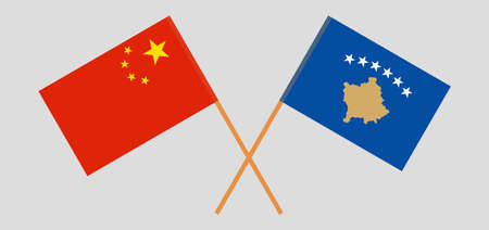 Crossed flags of Kosovo and China