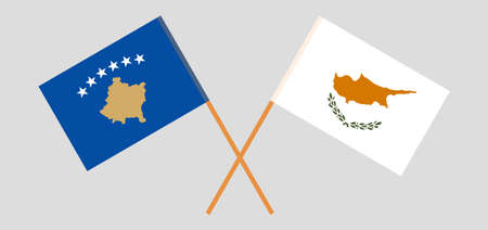 Crossed flags of Kosovo and Cyprus