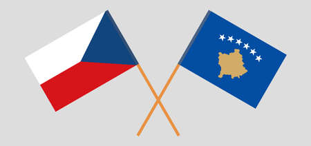 Crossed flags of Kosovo and Czech Republic