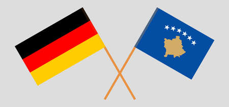 Crossed flags of Kosovo and Germany 矢量图像