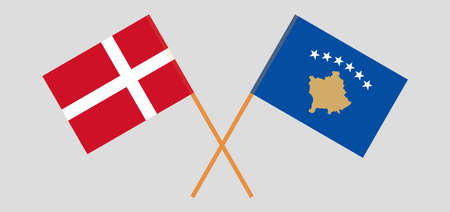 Crossed flags of Kosovo and Denmark