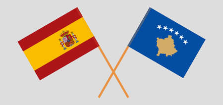 Crossed flags of Kosovo and Spain