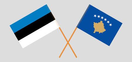 Crossed flags of Kosovo and Estonia
