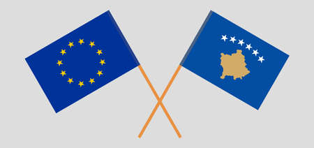 Crossed flags of Kosovo and Russia
