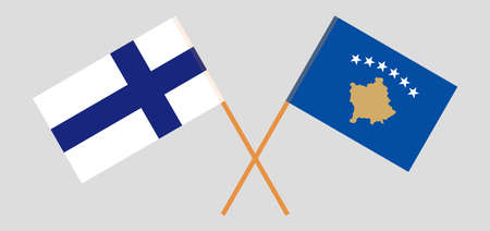 Crossed flags of Kosovo and Finland