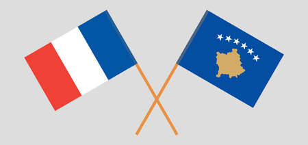 Crossed flags of Kosovo and France