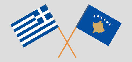 Crossed flags of Kosovo and Greece