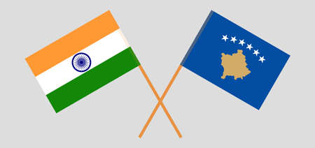 Crossed flags of Kosovo and India