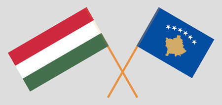 Crossed flags of Kosovo and Hungary 矢量图像