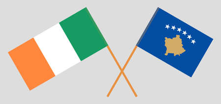 Crossed flags of Kosovo and Ireland
