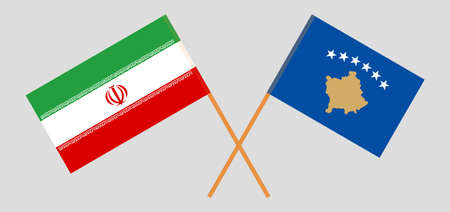 Crossed flags of Kosovo and Iran