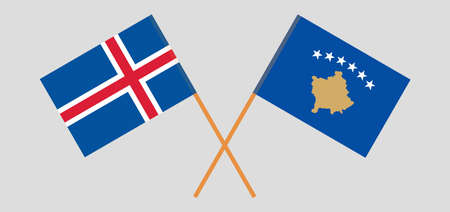 Crossed flags of Kosovo and Iceland