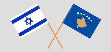 Crossed flags of Kosovo and Israel