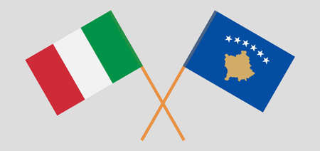 Crossed flags of Kosovo and Italy