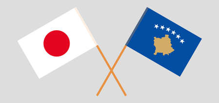 Crossed flags of Kosovo and Japan