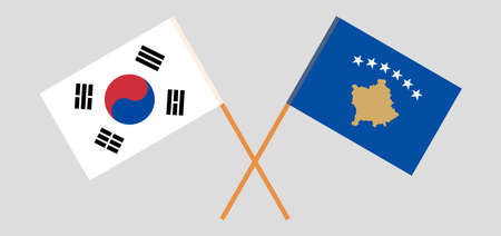 Crossed flags of Kosovo and South Korea