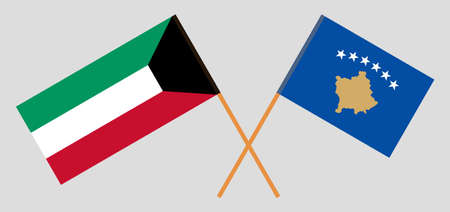 Crossed flags of Kosovo and Kuwait