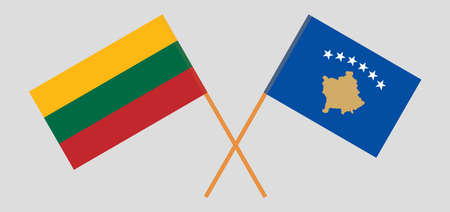 Crossed flags of Kosovo and Lithuania
