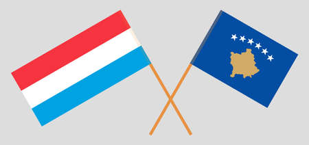 Crossed flags of Kosovo and Luxembourg