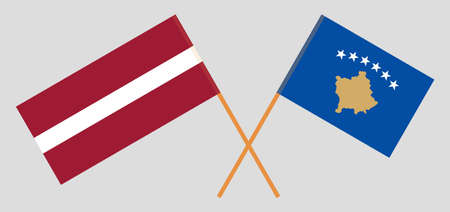 Crossed flags of Kosovo and Latvia