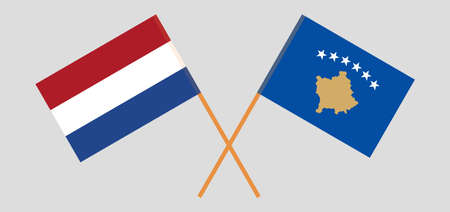 Crossed flags of Kosovo and the Netherlands 矢量图像