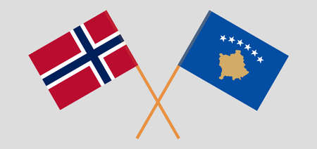 Crossed flags of Kosovo and Norway