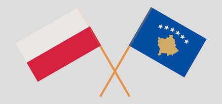 Crossed flags of Kosovo and Poland