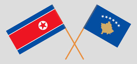 Crossed flags of Kosovo and North Korea