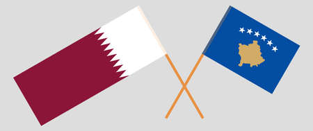 Crossed flags of Kosovo and Qatar