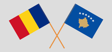 Crossed flags of Kosovo and Romania