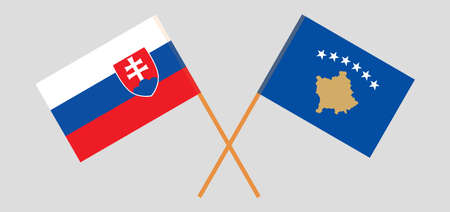 Crossed flags of Kosovo and Slovakia 矢量图像